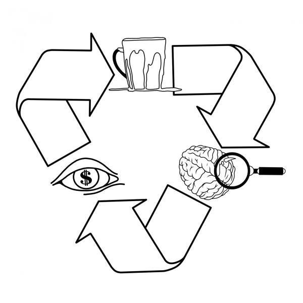 Diagram of brain, eye, and beverage in a recycle loop