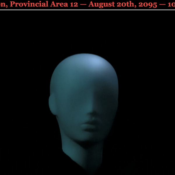 3D model of a head with red news text