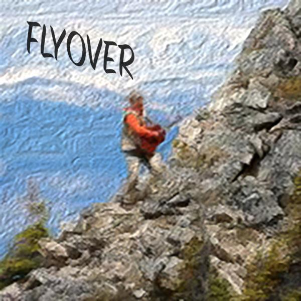 Distorted image of mountain climber with the EP title Flyover