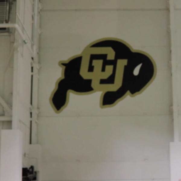 CU logo within buffalo painted onto recreation wall