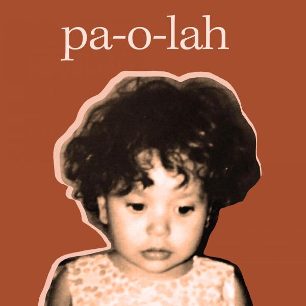 Movie poster with cut-out photo of artist as toddler pasted against a brunt orange background with title pa-o-lah