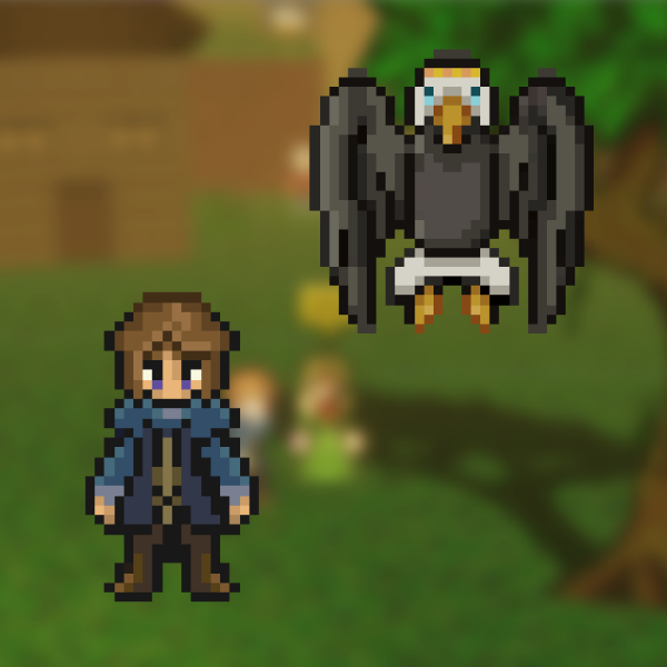 Pixel-art of a character and an eagle