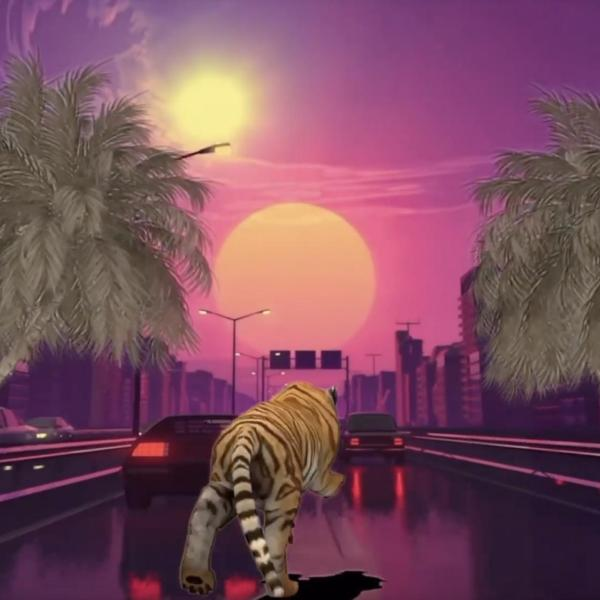 Collage of a tiger going down a highway with palm trees
