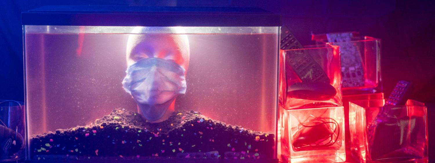 Fish tank filled with a plastic head and other glass vases filled with household objects