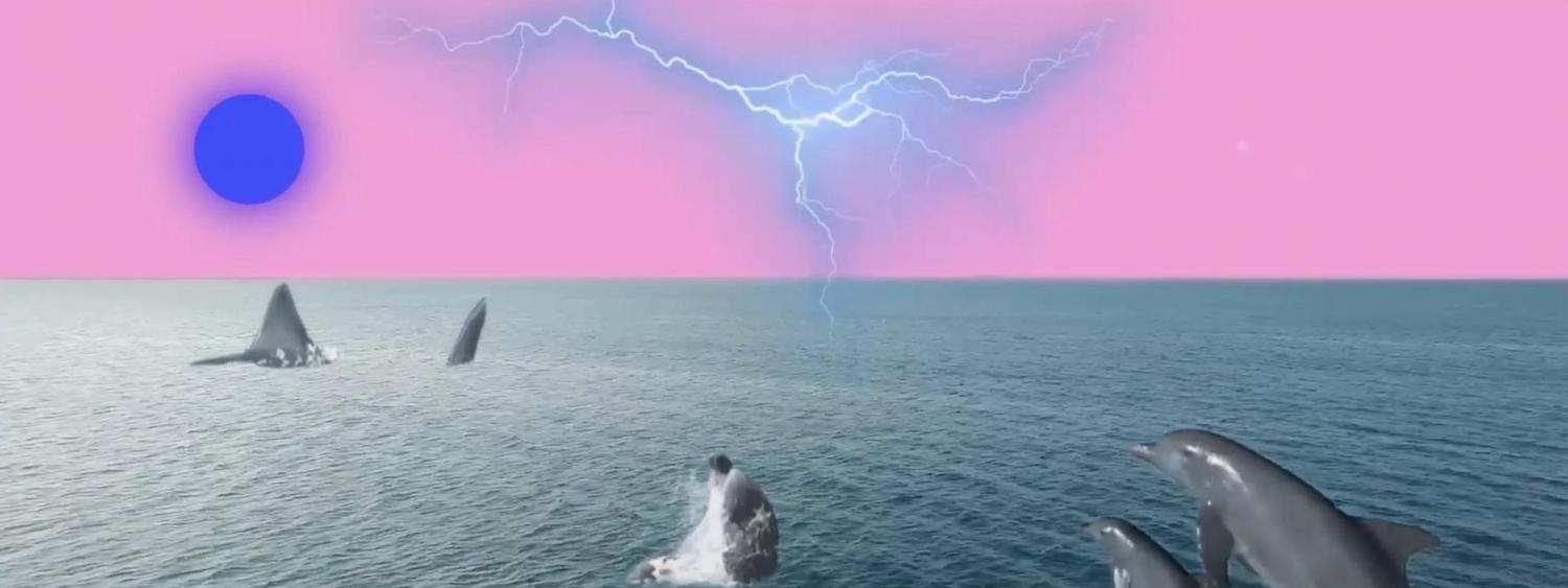 Digital art collage of dolphins in the sea with pink sky