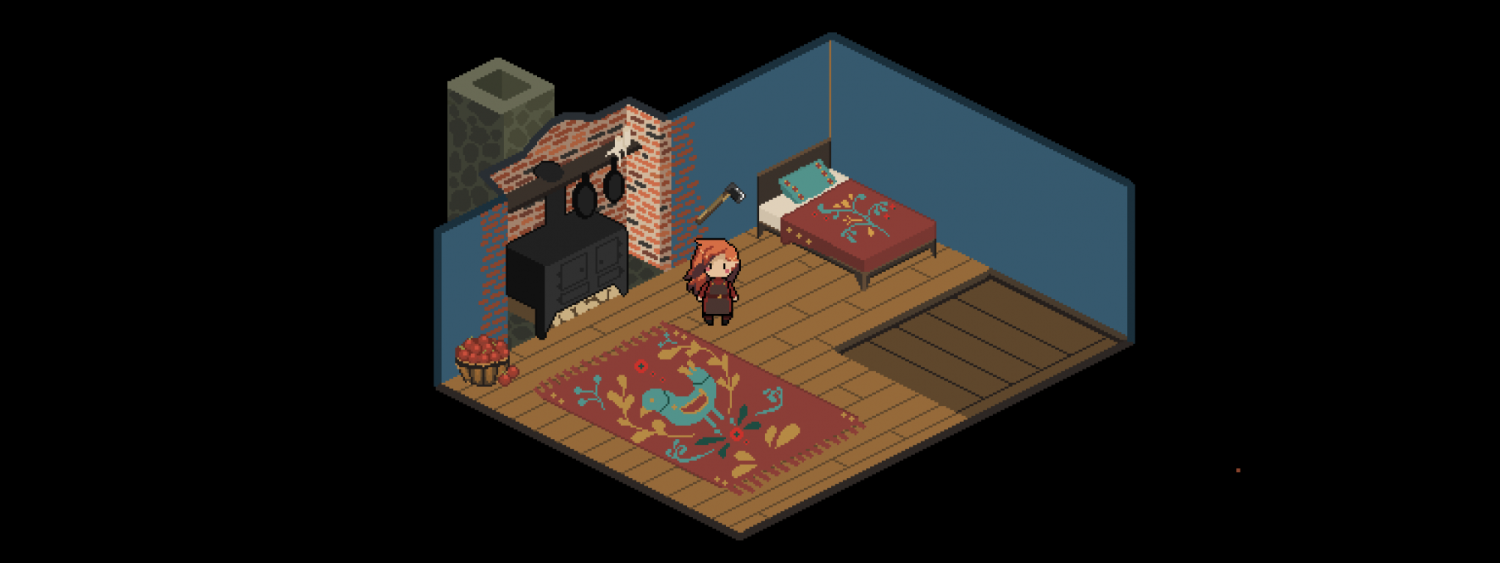 Game design of a bedroom with avatar