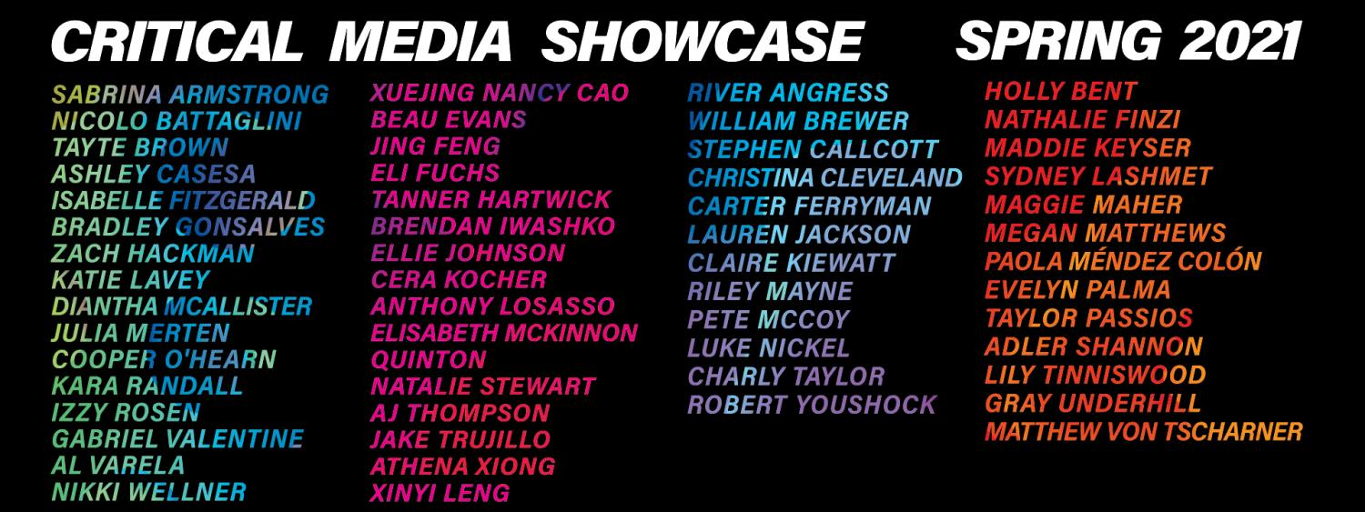 Showcase poster with list of names