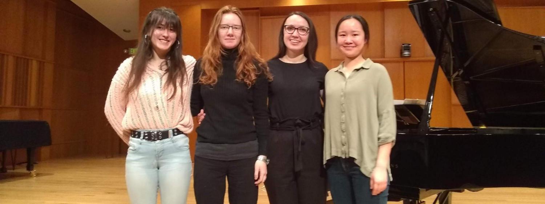 Fall 2019 undergraduate researchers: Reina Krumvieda, Indigo Farmer, Boheng Wang and Anastasiia Pavelnko