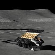 Artist's depiction of a robot laying out an antenna on the lunar surface. (Credit- Lunar Resources)
