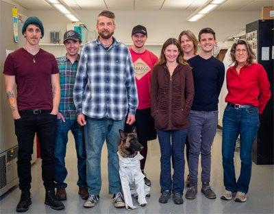 Coulson, Xenna, and the Watkins lab--photo courtesy of Patrick Campbell
