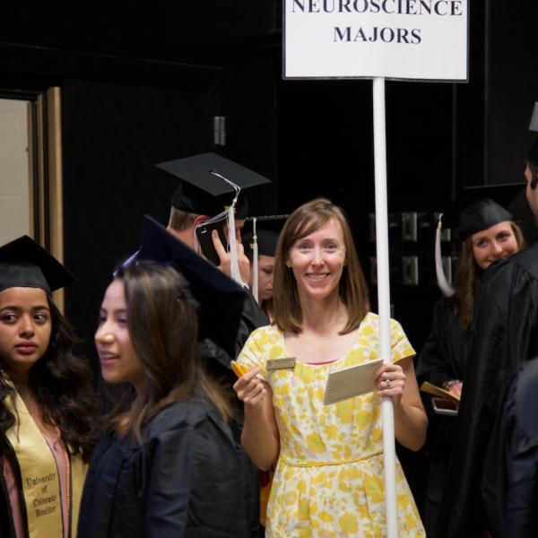 Neuroscience academic advisor Gwen Robeson is all smiles