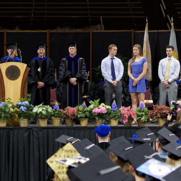 Director of Undergraduate Studies Irene Blair acknowledges various undergraduate awardees