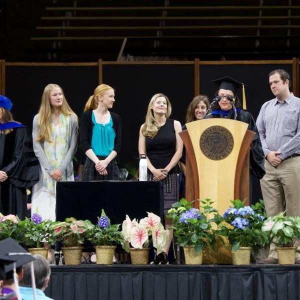 Director of Graduate Studies Tiffany Ito recognizes the graduate student awardees