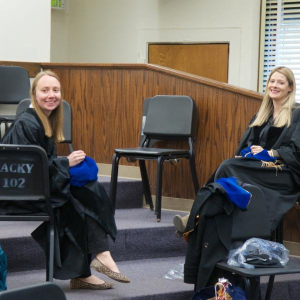 Jessi Mollick and Jane Barker before the ceremony, PhDs-to-be