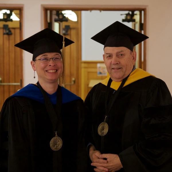 Professor Irene Blair, chair-to-be and Professor Jerry Rudy, current chair