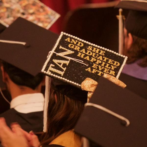 "Mortarboard stylings: ""And she graduated happily ever after."" One can only hope."