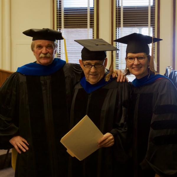 Professors Dan Barth, Chair Jerry Rudy, and emcee Tina Pittman Wagers before the ceremony