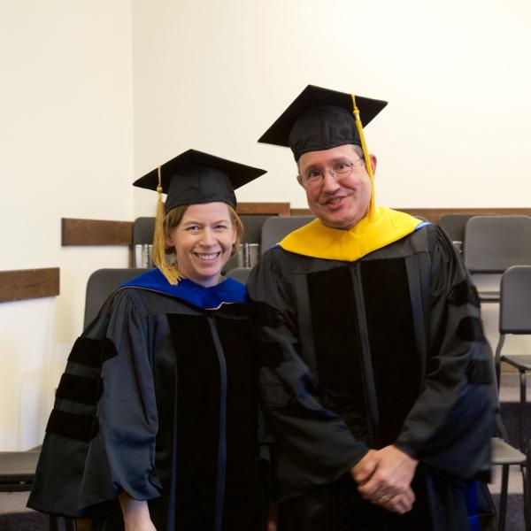 Professors Heidi Day and Serge Campeau are all smiles before the ceremony
