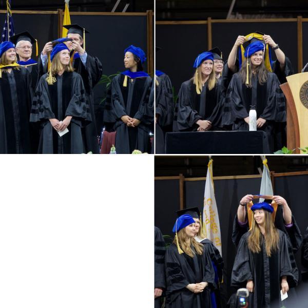 PhD hoodings, clockwise from top left: Emma Johnson (mentor Matt Keller), hooded by Scott Vrieze; Jess Keating, hooded by mentor Leaf Van Boven; Angela Li, hooded by mentor Mark Whisman