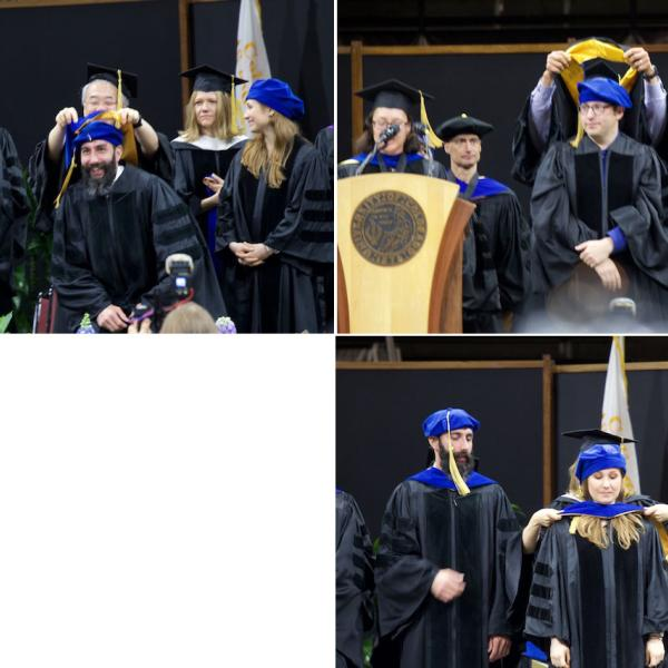 PhD hoodings, clockwise from top left: John Lurquin, hooded by mentor Akira Miyake; Leif Oines, hooded by mentor Al Kim; Courtney Stevens, hooded by mentor Angela Bryan (Kent Hutchison, co-mentor)