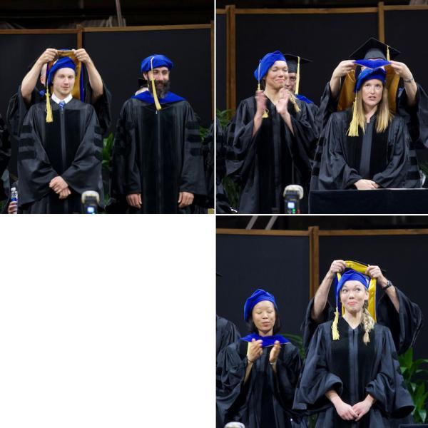PhD hoodings, clockwise from top left: Shane Schwikert, hooded by mentor Tim Curran; Katie Wolsiefer, hooded by mentor Irene Blair; Liz Woodruff, hooded by mentor Bob Spencer