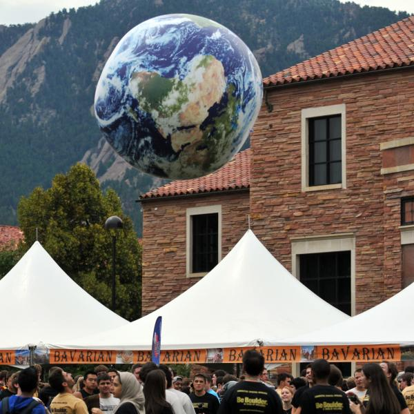Study Abroad Fair with large globe