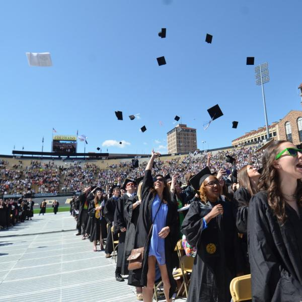 students throwing their caps on graduation day
