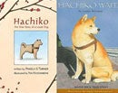 Hachiko book cover with drawing of hachiko, a white dog