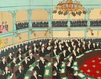 drawing of government session during meiji era