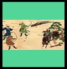 scroll image from medieval era of samurai fighting