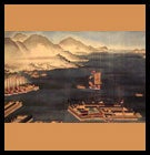 tokugawa era drawing of a port on the water with boats and mountains