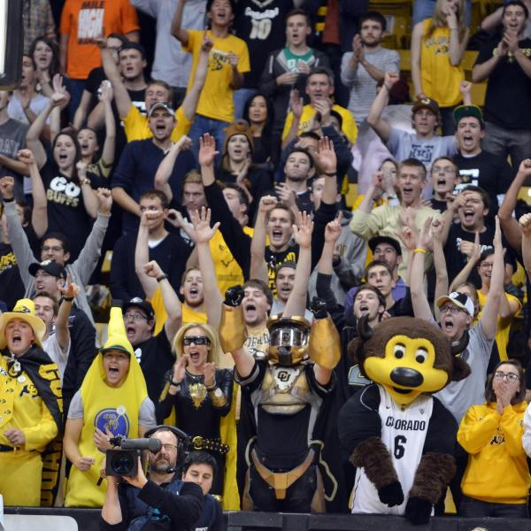 Chip the Buffalo among the crowd of attendees at a CU Boulder basketball game