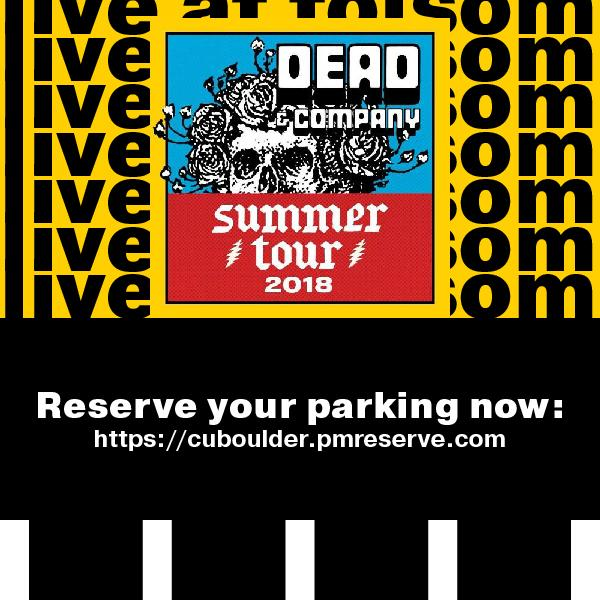 Graphic to encourage Dead & Company concert attendees to purchase their parking permit