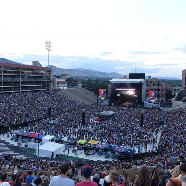 Dead & Company performing in a crowded Folsom Field