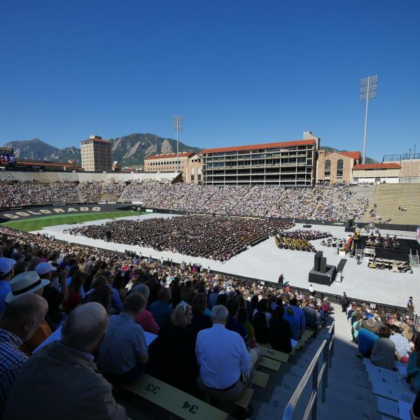 Crowded Folsom Stadium during 2017 Spring Commencement