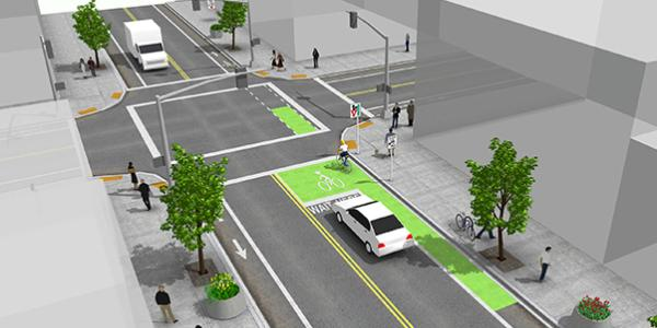 Computer animated drawing showing cars, bikes, and pedestrians all using the roadways.