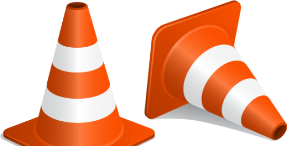 Picture of two construction cones