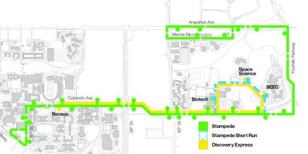 Discovery Express and Stampede bus routes.