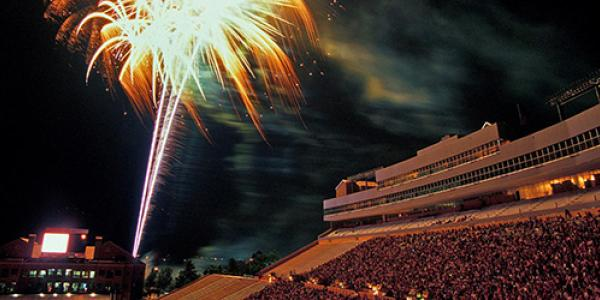 PIcture of fireworks over Folsom Field