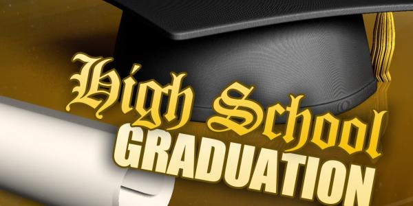 Graduation cap with words stating high school graduation