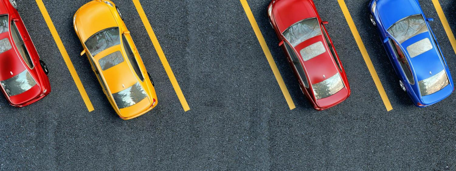 Aerial view of cars parked in a parking lot