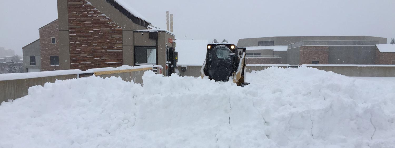 Snow on top of Regent parking garage.