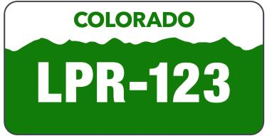 Graphic license plate to indicate License Plate Recognition for CU Boulder parking lots
