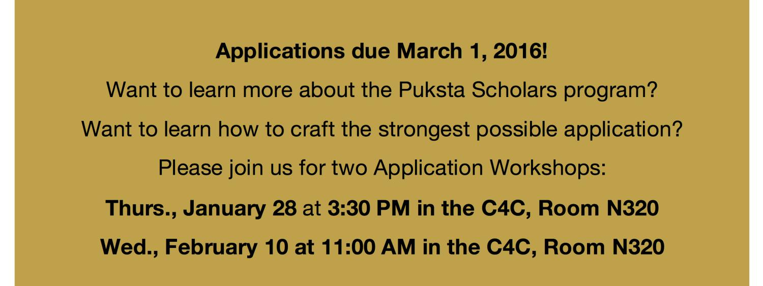 Applications due March 1, 2016!  Want to learn more about the Puksta Scholars Program?