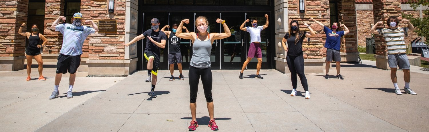 fitness students posing outside the rec center
