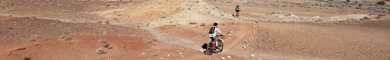 mountain bikers in the desert