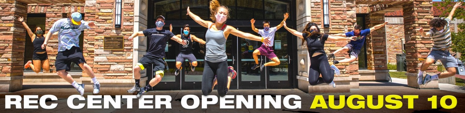 """students jumping in front of the rec center with words """"rec center opening august 10"""""""