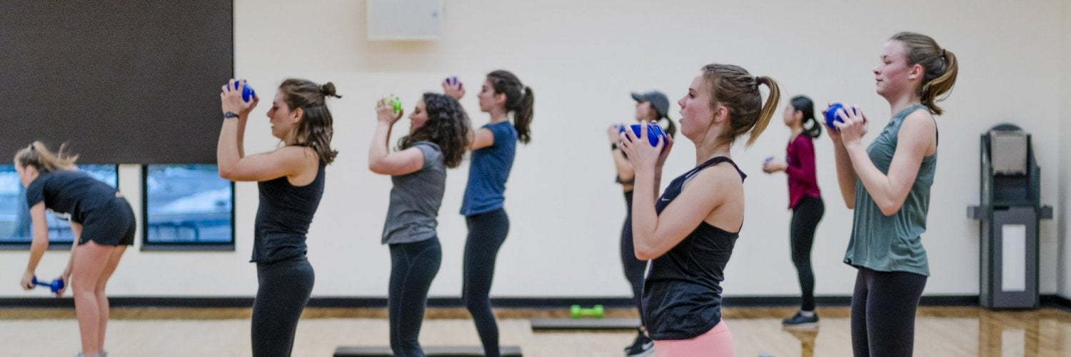 Students in fitness class