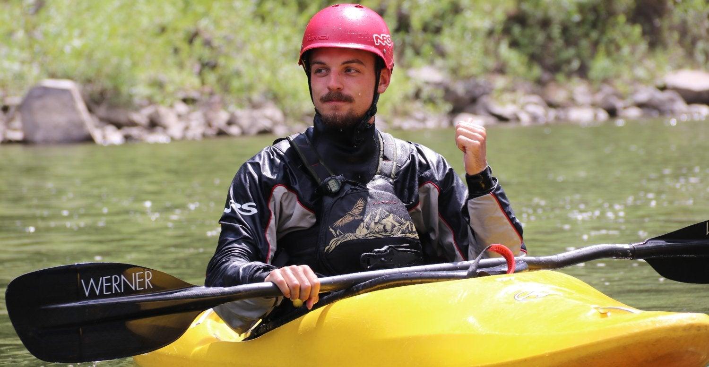man in a kayak
