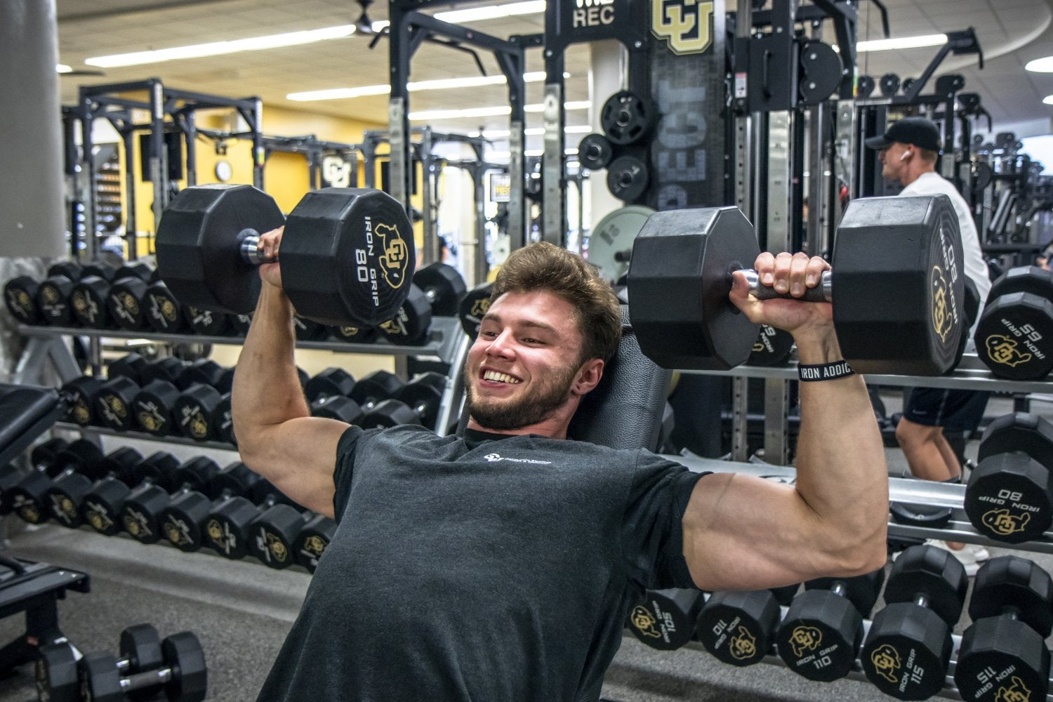 strong guy incline benching 80 lb dumbbells
